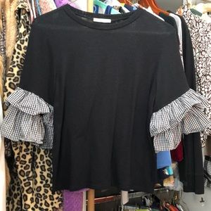Black sweater with tier sleeves